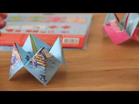 Easy to folding game fortune teller with paper for children Origami papier falten bateln für Kinder