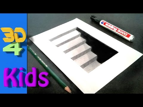 step by step drawing! draw 3D CELLAR STAIRS narrated for kids