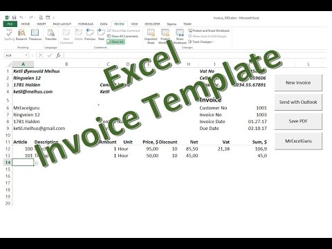 Excel in English: Free Excel Invoice Template - send as PDF