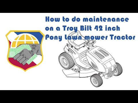 How to do maintenance on a Troy Bilt 42 Pony Lawn mower Tractor - oil change spark plug air filter