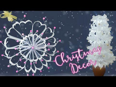 DIY Christmas decor | 3D Paper Snowflake Decoration : Giant Snowflake Wreath & Christmas tree
