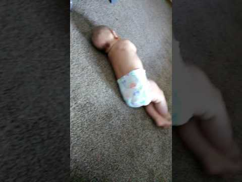 Baby Xander Learns To Roll Over Onto His Belly