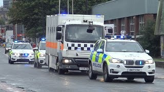 CAT A Armed Prison Convoy Transporting Prisoners To HMP Strangeways From Liverpool Crown Court