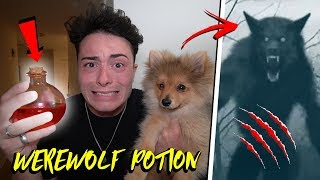 GIVING WEREWOLF POTION TO MY PUPPY AT 3 AM CHALLENGE!! *HE TRANSFORMED*