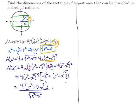 Find the dimensions of the rectangle of largest area that can be inscribed in a circle of radius r.