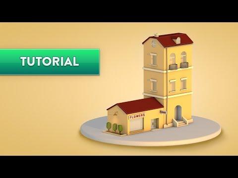 C4D TUTORIAL  |  Low Poly Apartment & Shop  (Beginner)