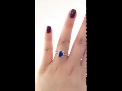 Lisette 14kt White Gold Rectangle Emerald Cut Blue Sapphire Engagement Ring