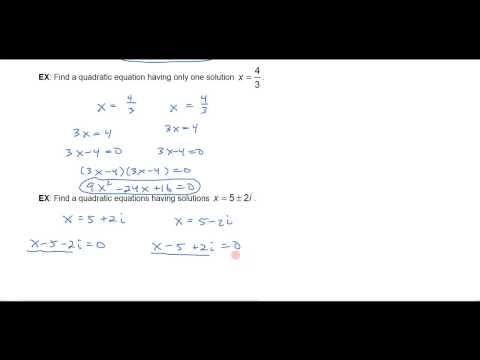 Finding a Quadratic Equation With Given Solutions