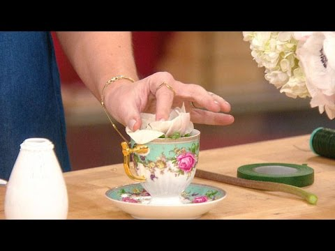Tori Spelling Shows You How to Make an Easy Teacup Flower Arrangement