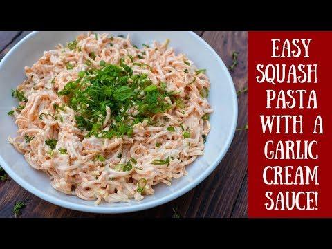 Easy Dinner Recipe! Butternut Squash Pasta with a Garlic Cream Sauce!