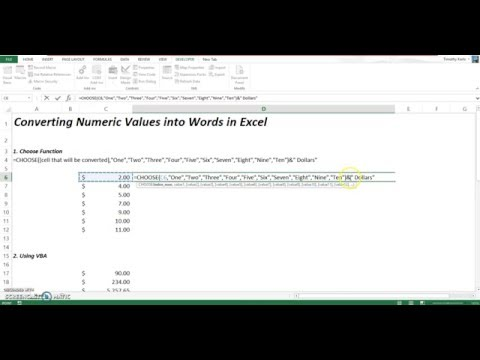 Converting Numeric Values Into Words in Excel