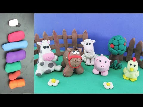 How To Make Clay Farm Animals Pig, Horse, Cow, Sheep, and Chicken | Clay Modeling Projects