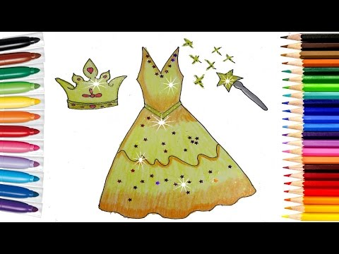 How to Draw Dress Coloring page for kid. Learning videos for children