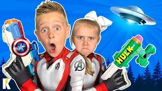 Download Kids Hunt the Aliens! (with Avengers Endgame Nerf Blasters) KIDCITY Video