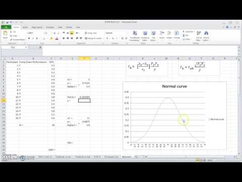 Calculating biserial correlation coefficient (not ranked biserial!) in Excel