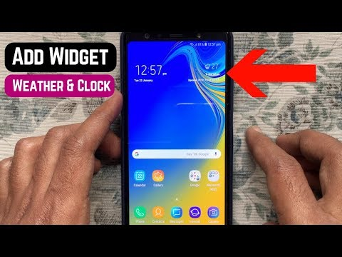 How to Add a Widget (Weather & Clock) on Home Screen - Samsung Galaxy A7 (2018)