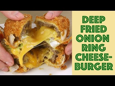 How to make: Deep Fried Onion RIng Burger Guacamole and Cheese Sandwich