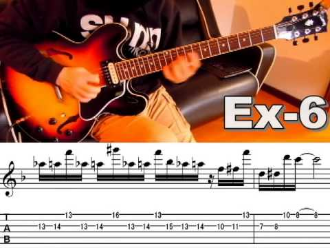 10 Cool Jazz Funk Guitar Licks in F with TAB