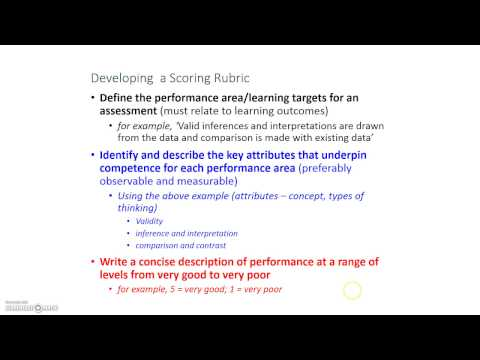 Developing a Rating Scale/Scoring Rubric