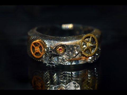 Steampunk / Clockpunk ring tutorial from real watch cogs