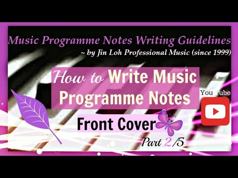 How to write music programme notes? Part 2/5 (Front Cover Format)