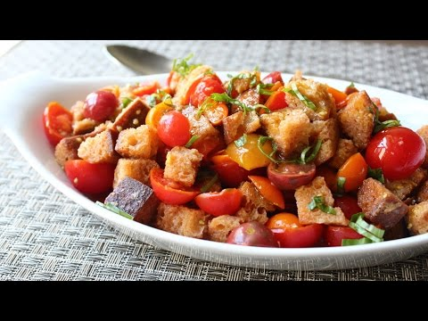Crispy Panzanella Salad - Tuscan Bread & Tomato Salad Recipe