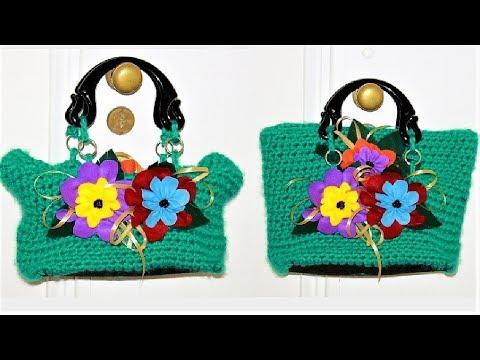 DYI/TUTORIAL: How to make a bag with wool and crochet yarn/Borsa fatta con filo e uncinetto