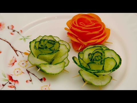 Vegetable decoration. Green cucumber rose. FOOD DECORATION Making Vegetable Flowers