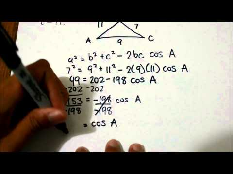 Finding all angles with given side lengths of a triangle