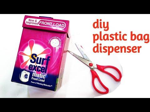 How to transform surf excel box into plastic bag diy dispenser/plastic cover organizer cardboard box