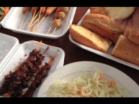 Yummy grilled skewed beef the Khmer cuisine with butter bread