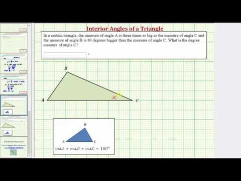 Ex: Find the Interior Angles of a Triangle From Expressions For the Angles