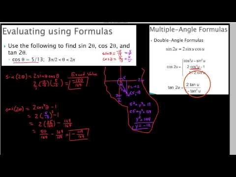 HPC 5.5.2,  Using double angle formulas to find trig values of angles