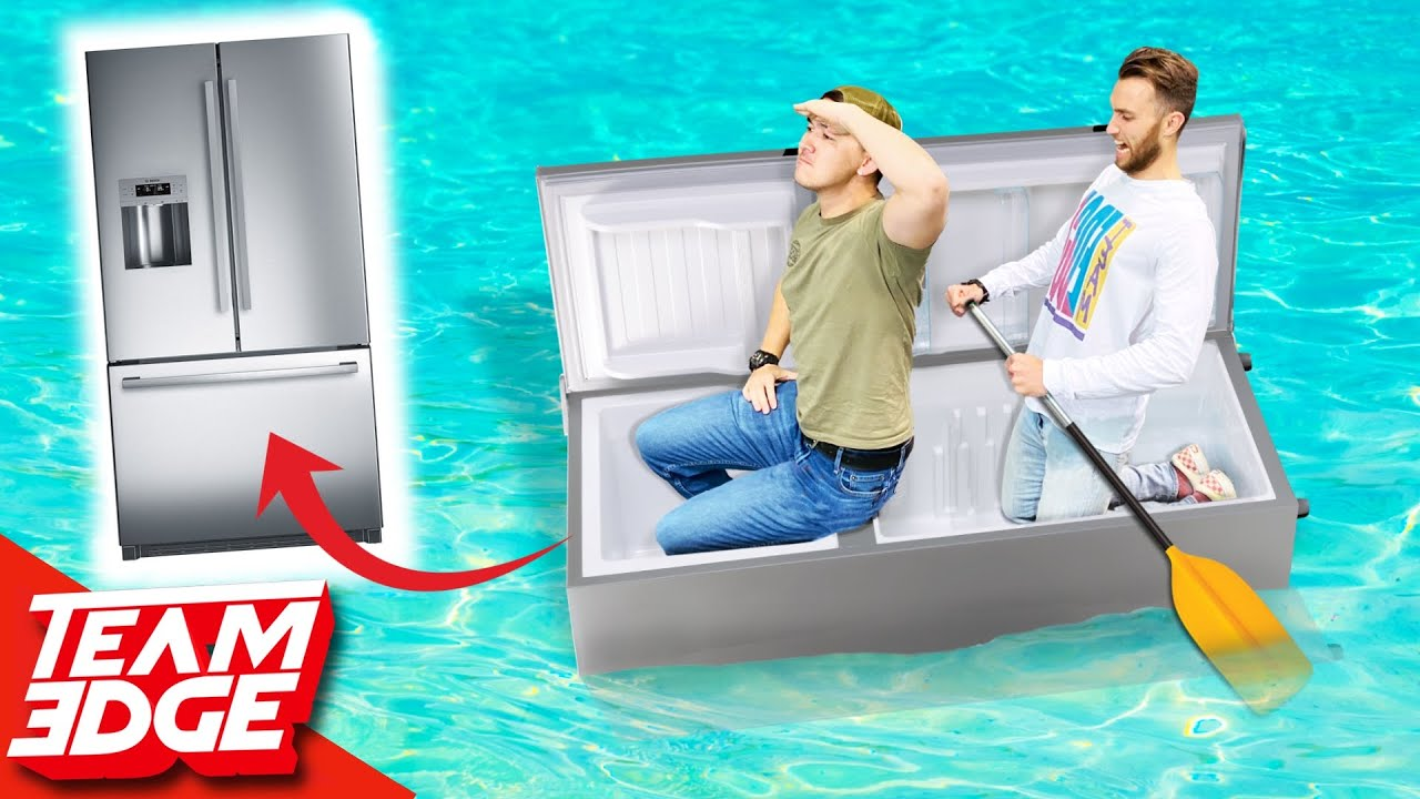 Will we SINK in a FRIDGE Boat!? *BOAT SURVIVAL Challenge!!