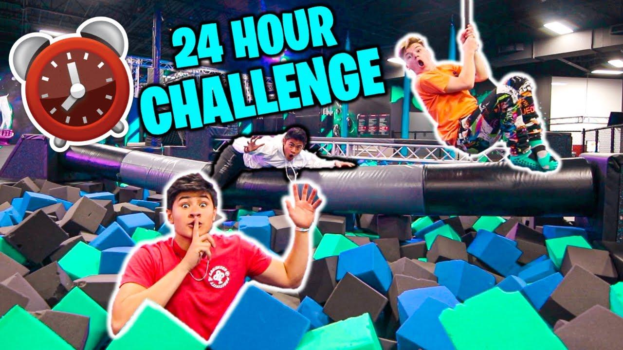 24 HOUR OVERNIGHT CHALLENGE in TRAMPOLINE PARK!! (ft. Jack Doherty)