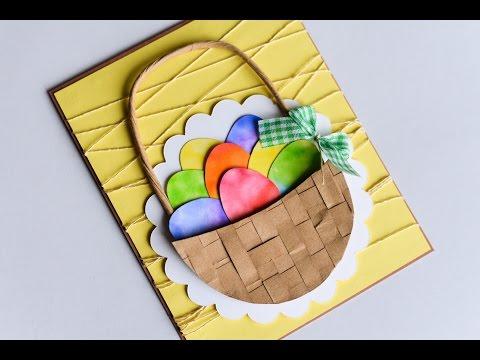How to Make - Easter Egg Basket Spring Card - Step by Step | Kartka Wielkanocna