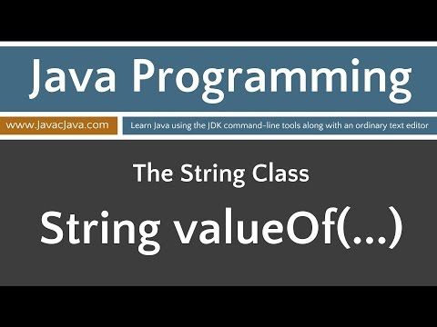 Learn Java Programming - String Class Tutorials valueOf(...)