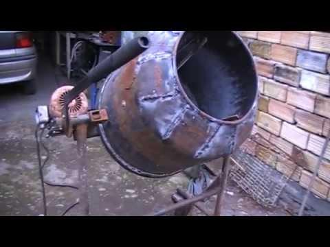 Homemade concrete mixer- first test