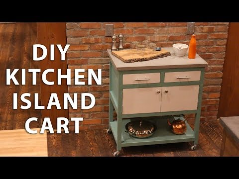 DIY Kitchen Island Cart with a Concrete Top
