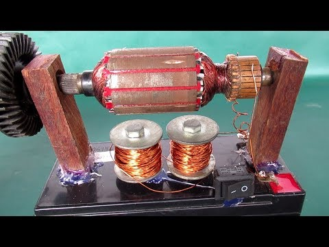 How to make simple electric motor Power DC at home Without Magnet - Small science project 2018