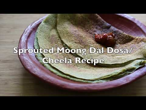 Sprouted Moong Dal Dosa - Pesarattu - Easy Instant Sprouted Green Gram Dosa -Healthy Breakfast Ideas