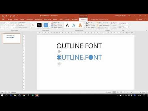 How to make OUTLINE FONT @ Powerpoint (2016)