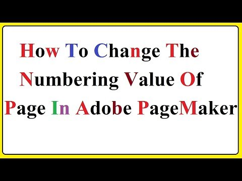 How To Changing The Numbering Value Of Page In Adobe PageMaker