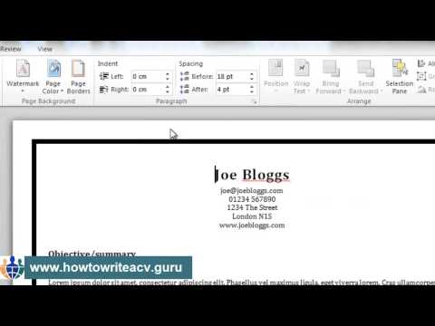 How to add a border to your résumé in Microsoft Word 2010