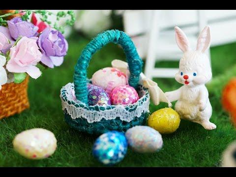DIY Miniature Easter Egg Basket Tutorial - Nendoroid & Dollhouse accessories