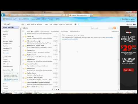 How to clean up hotmail Inbox - 1