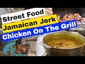Jamaica Cookout  Fried  Jerk Chicken Curry Goat Rice And Peas