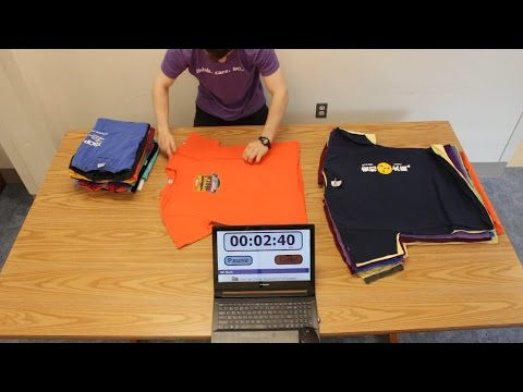 Folding 40 T-Shirts in 6 Minutes (Time Lapse)