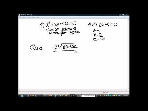 Quadratic Formula-Imaginary Roots