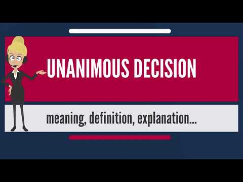 What is UNANIMOUS DECISION? What does UNANIMOUS DECISION mean? UNANIMOUS DECISION meaning